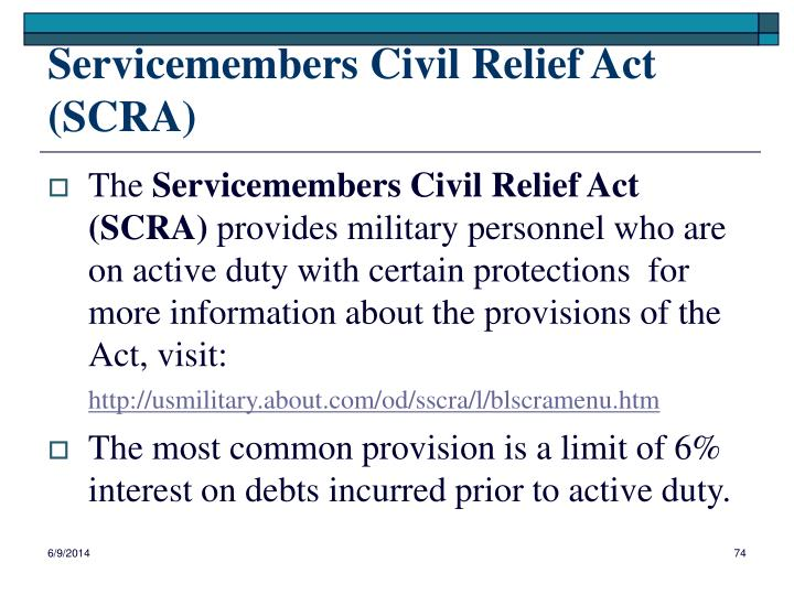 Servicemembers Civil Relief Act (SCRA)