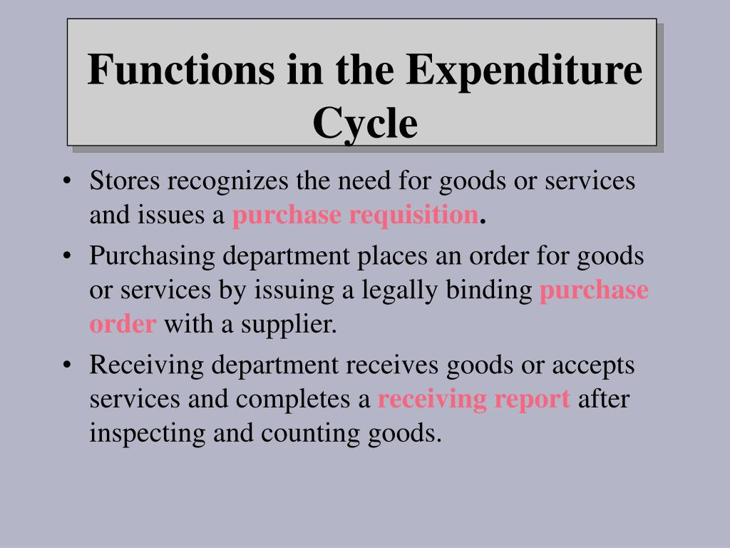 Stores recognizes the need for goods or services and issues a