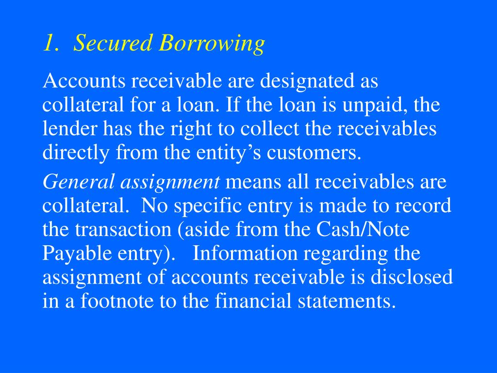1.  Secured Borrowing