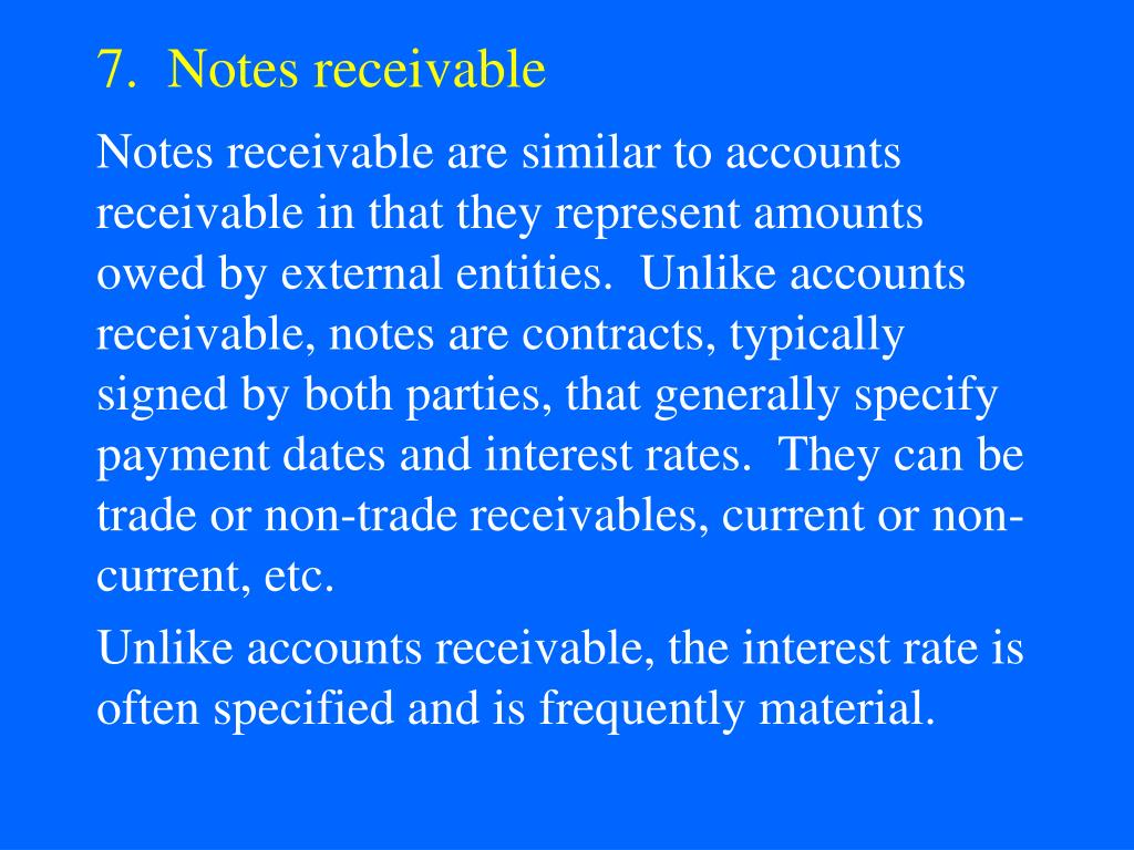 7.  Notes receivable