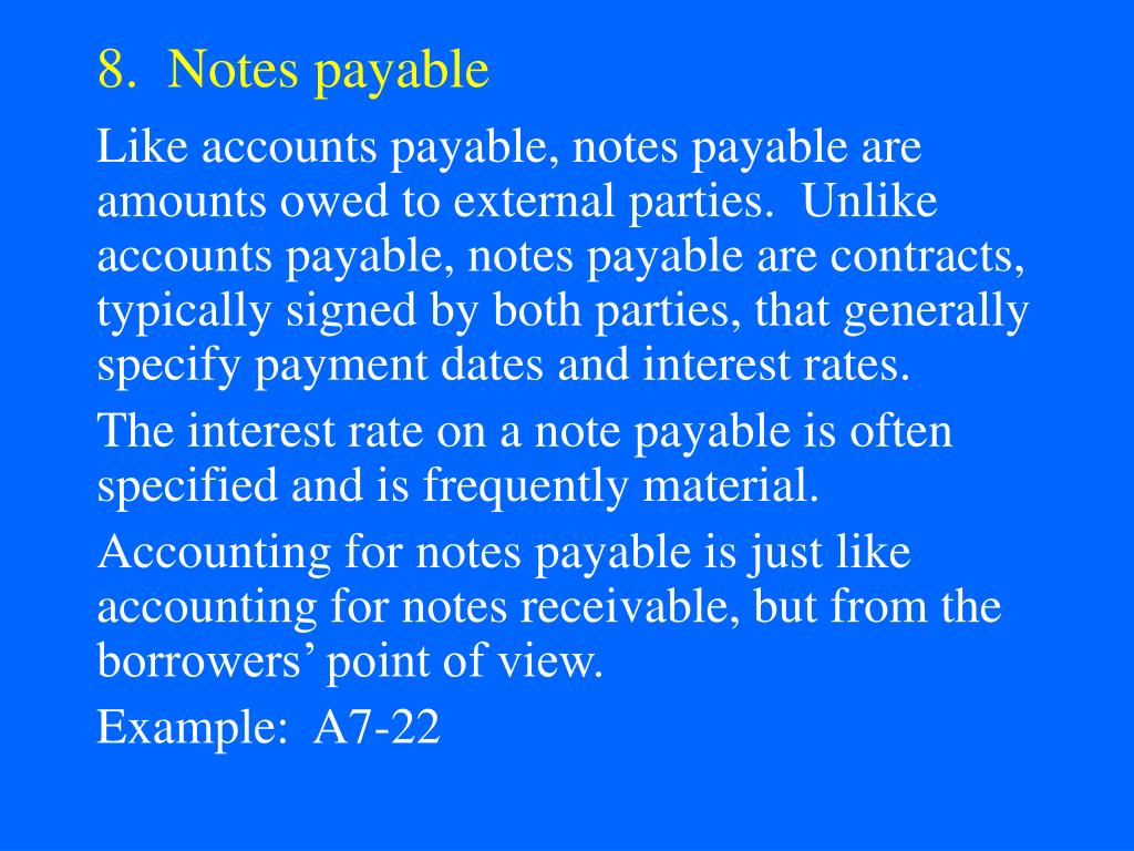 8.  Notes payable