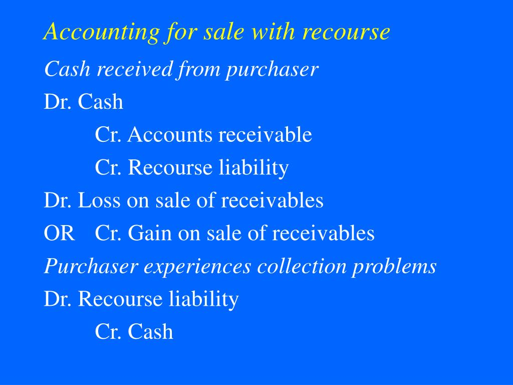 Accounting for sale with recourse