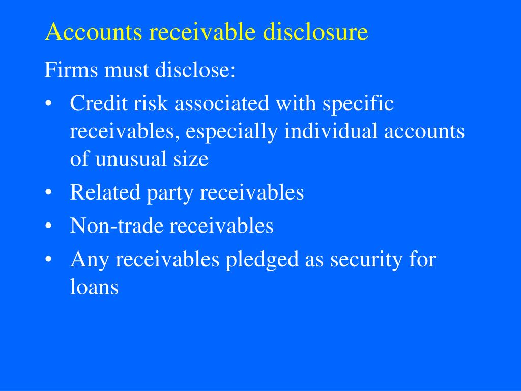 Accounts receivable disclosure