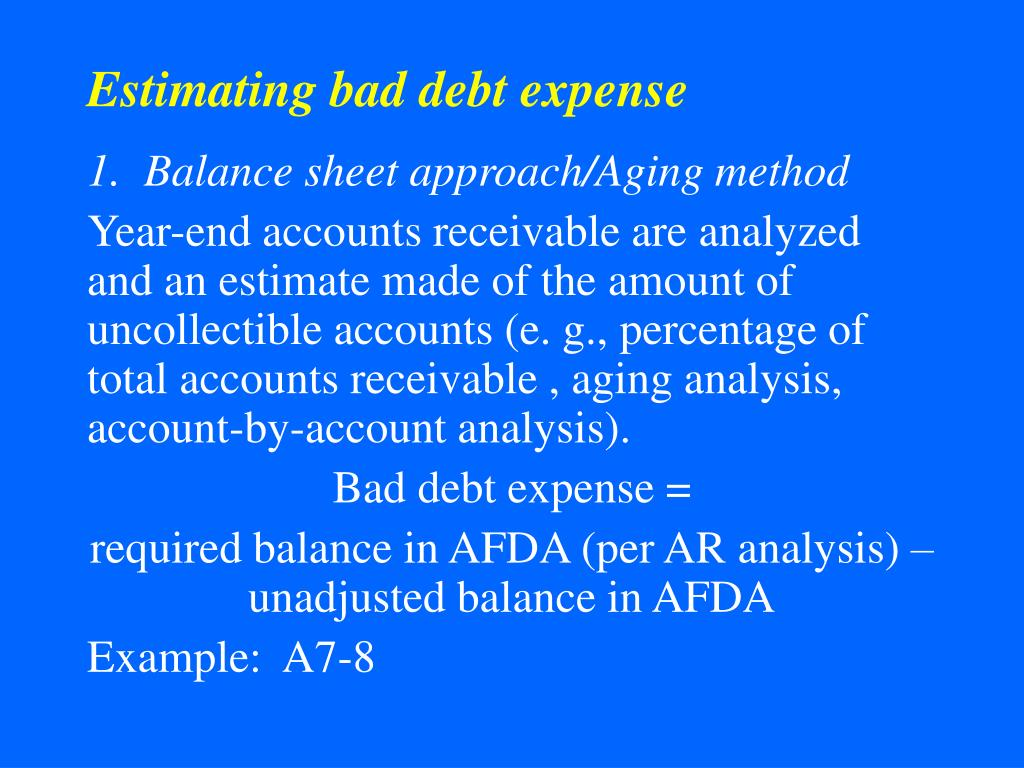 Estimating bad debt expense