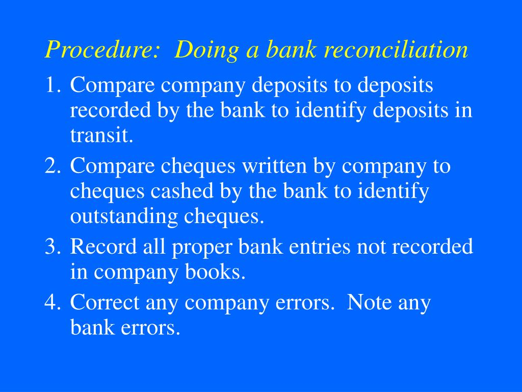 Procedure:  Doing a bank reconciliation