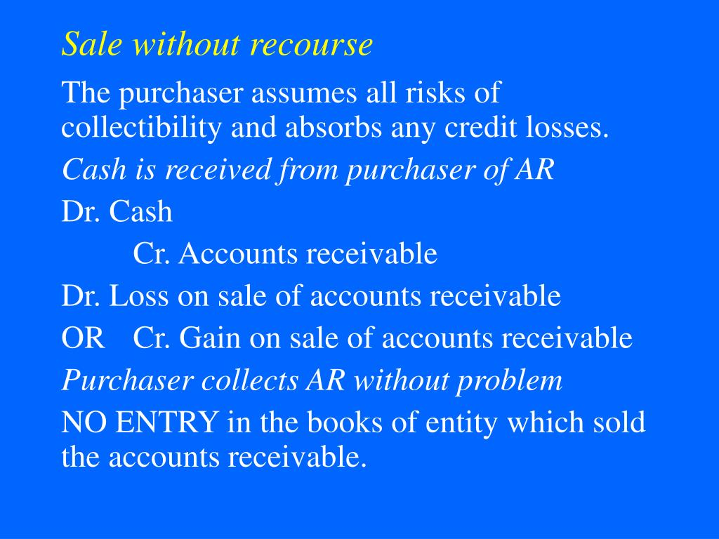 Sale without recourse