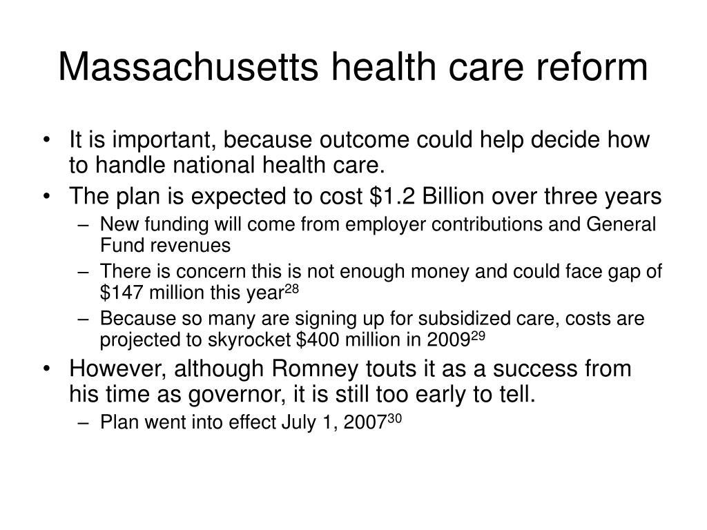Massachusetts health care reform