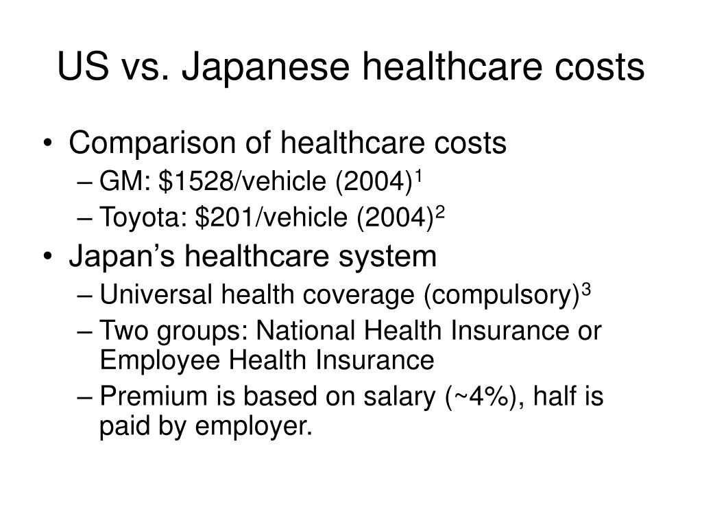 US vs. Japanese healthcare costs