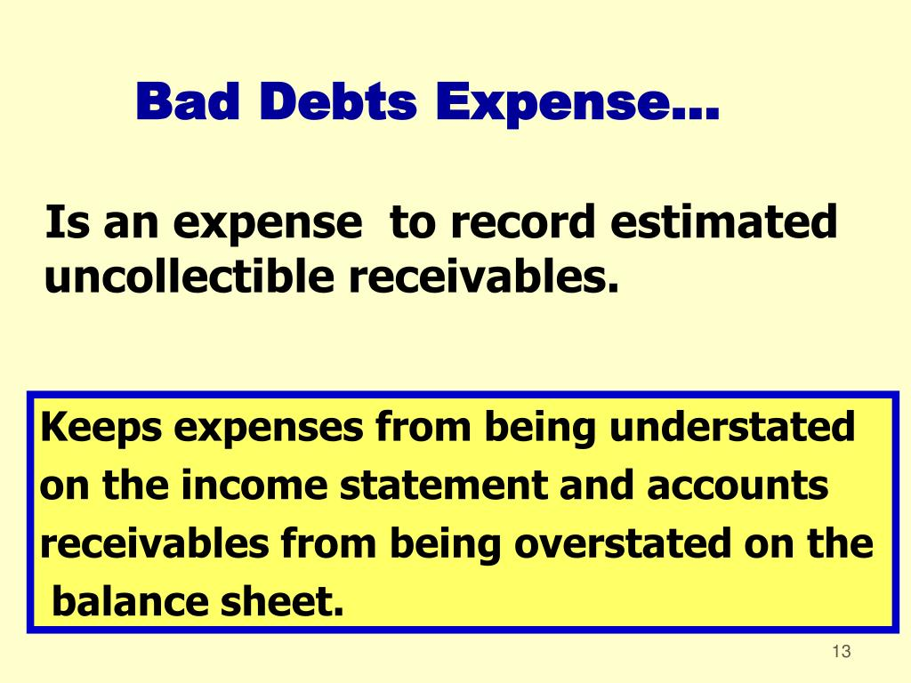Bad Debts Expense...