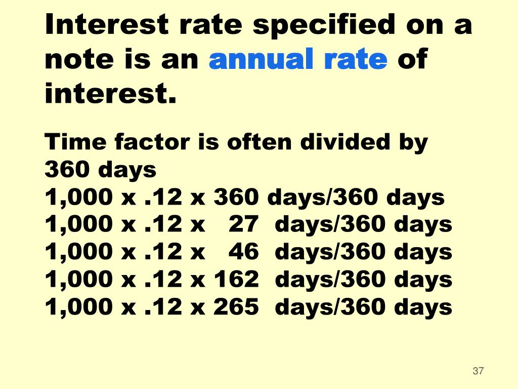 Interest rate specified on a note is an