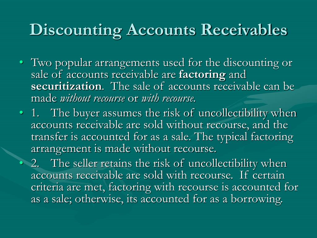 Discounting Accounts Receivables