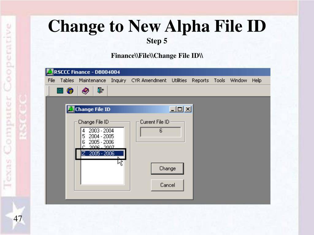 Change to New Alpha File ID