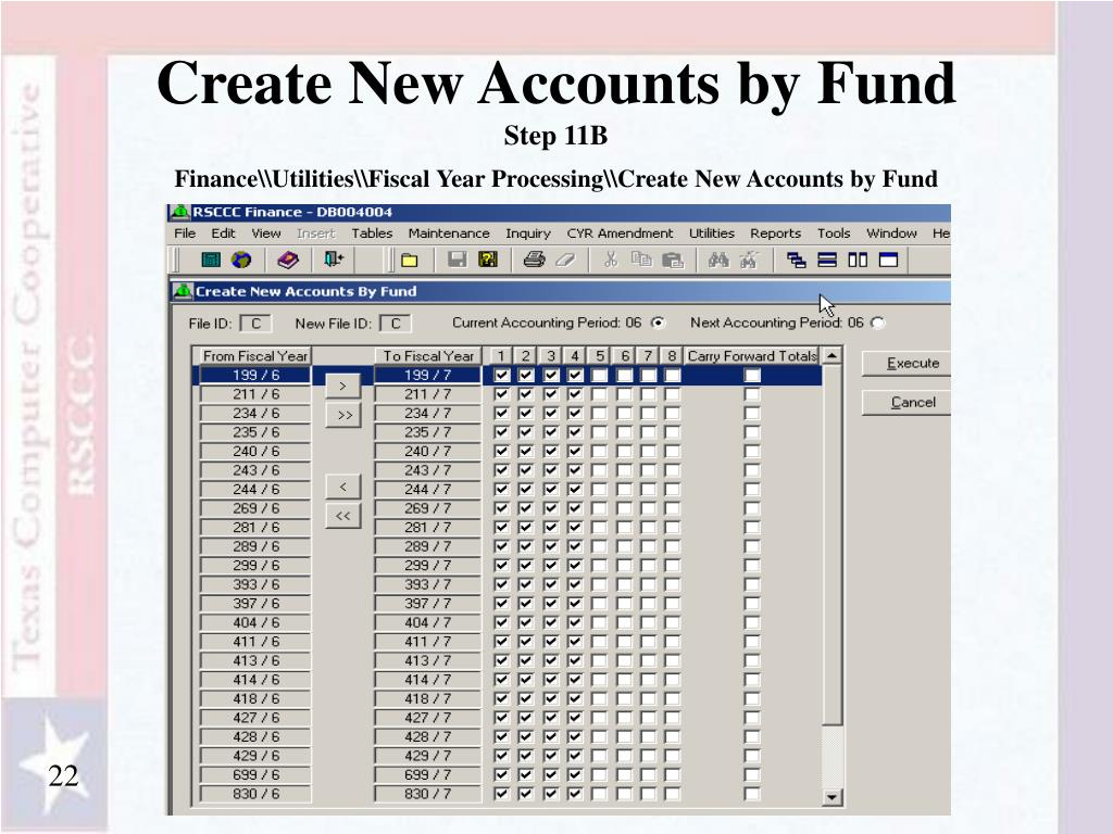 Create New Accounts by Fund