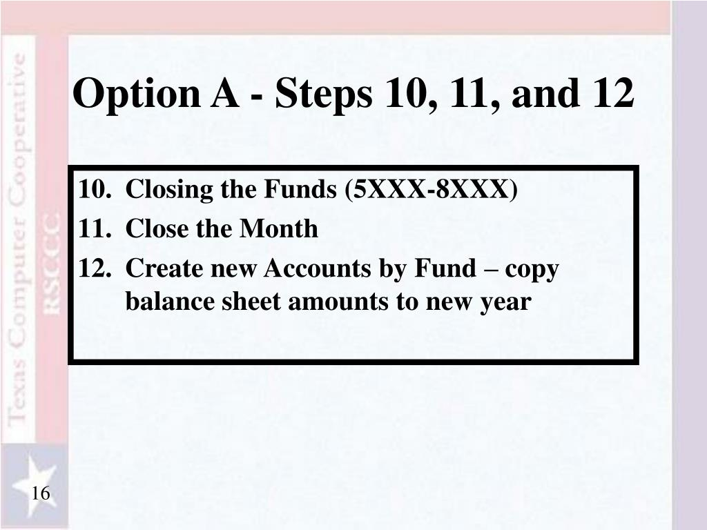 Option A - Steps 10, 11, and 12