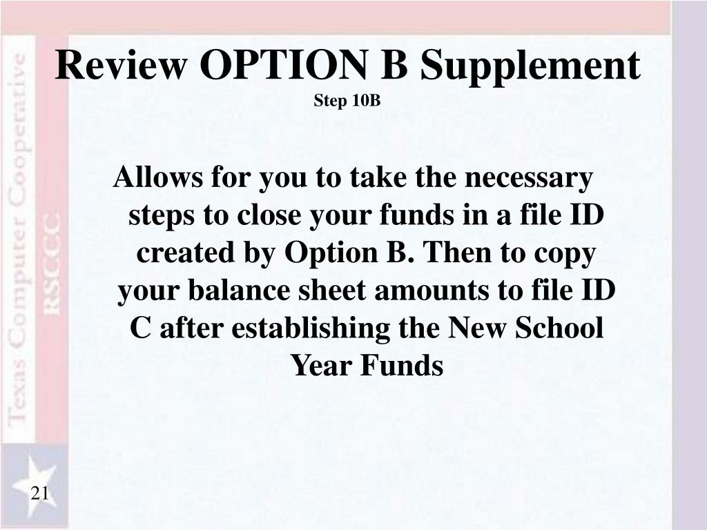 Review OPTION B Supplement