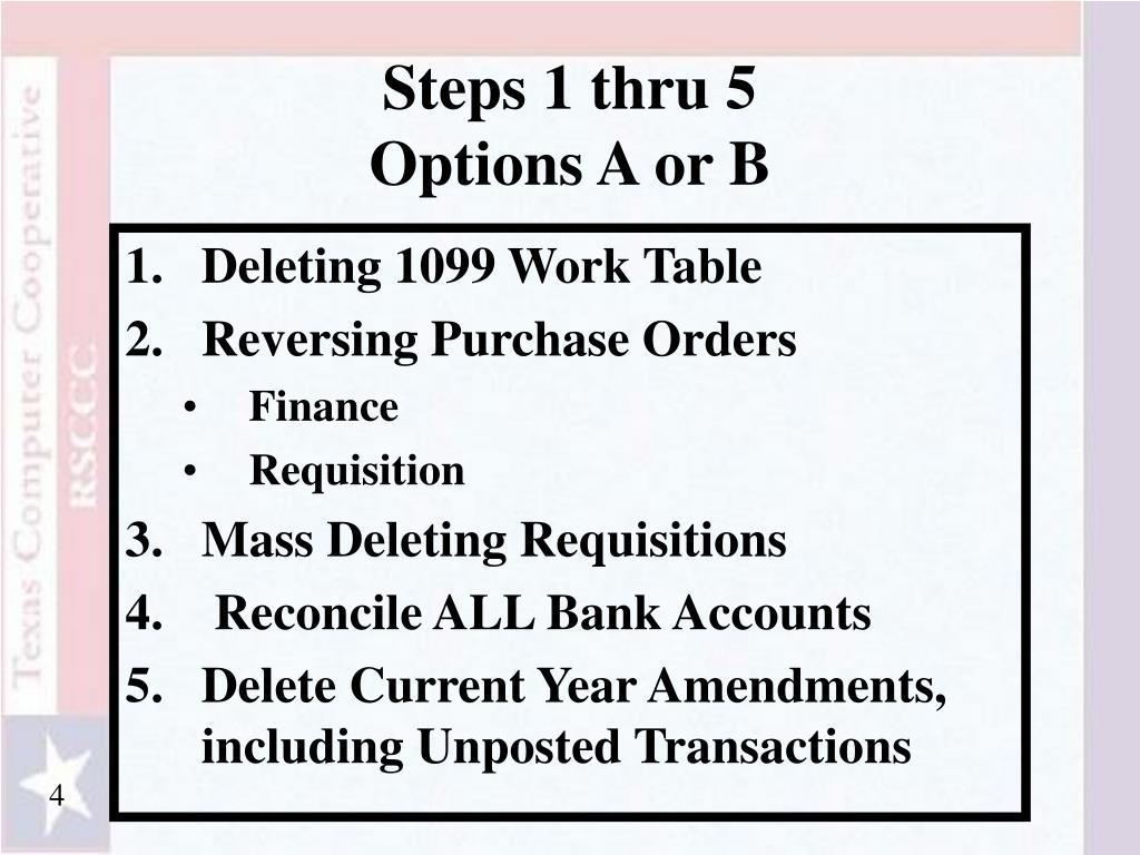 Steps 1 thru 5