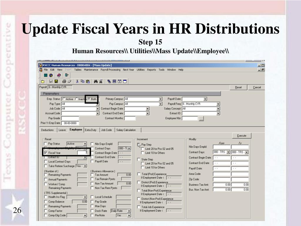 Update Fiscal Years in HR Distributions