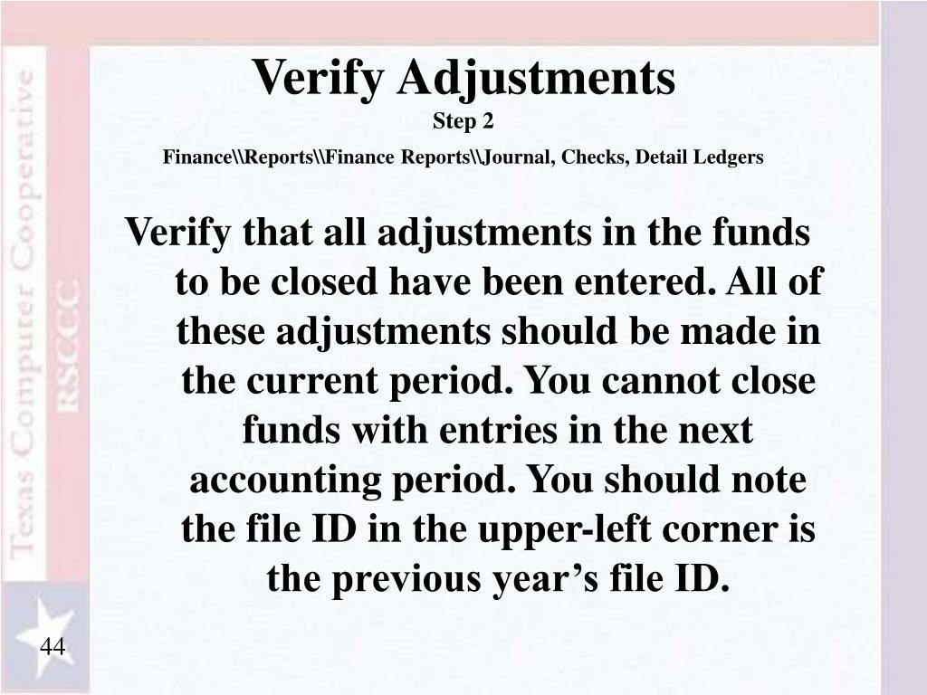 Verify Adjustments