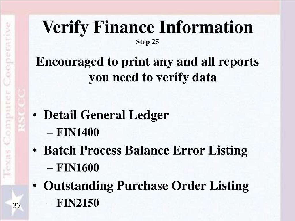 Verify Finance Information