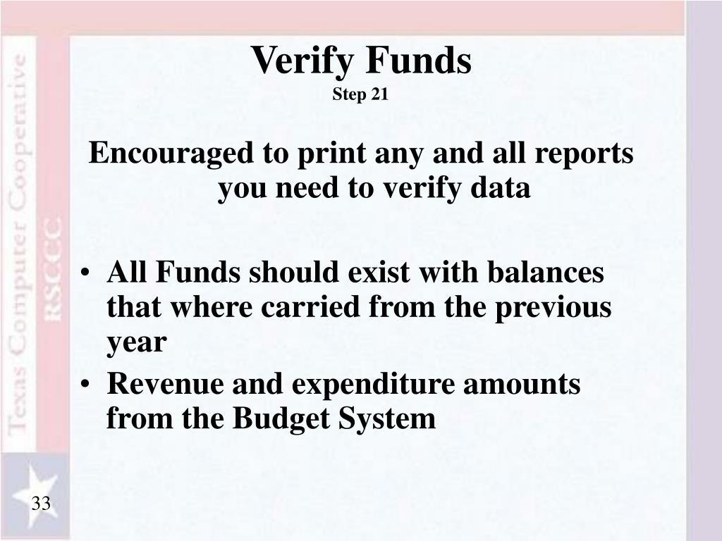 Verify Funds