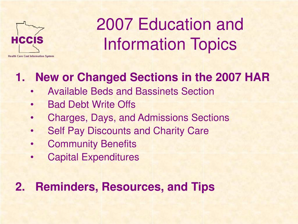 2007 Education and