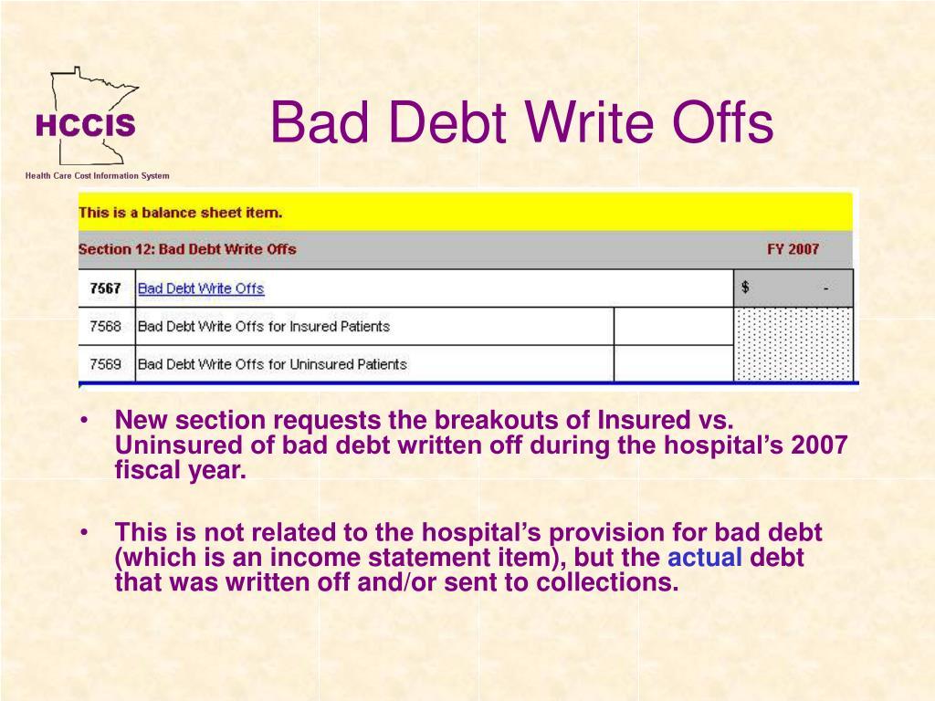 Bad Debt Write Offs