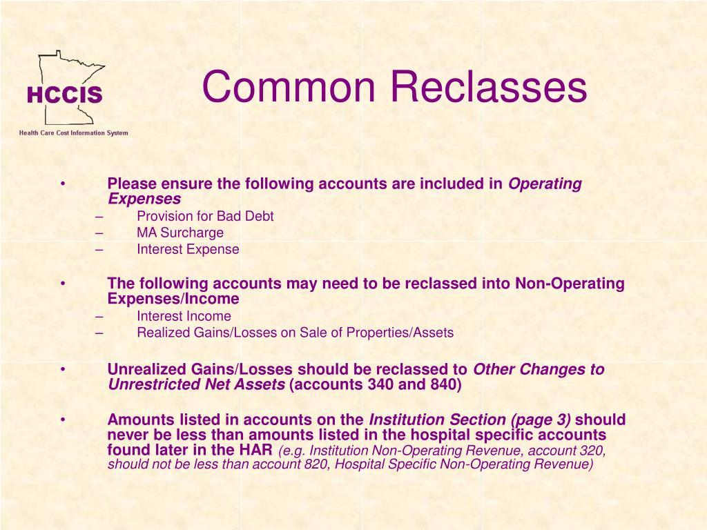Common Reclasses