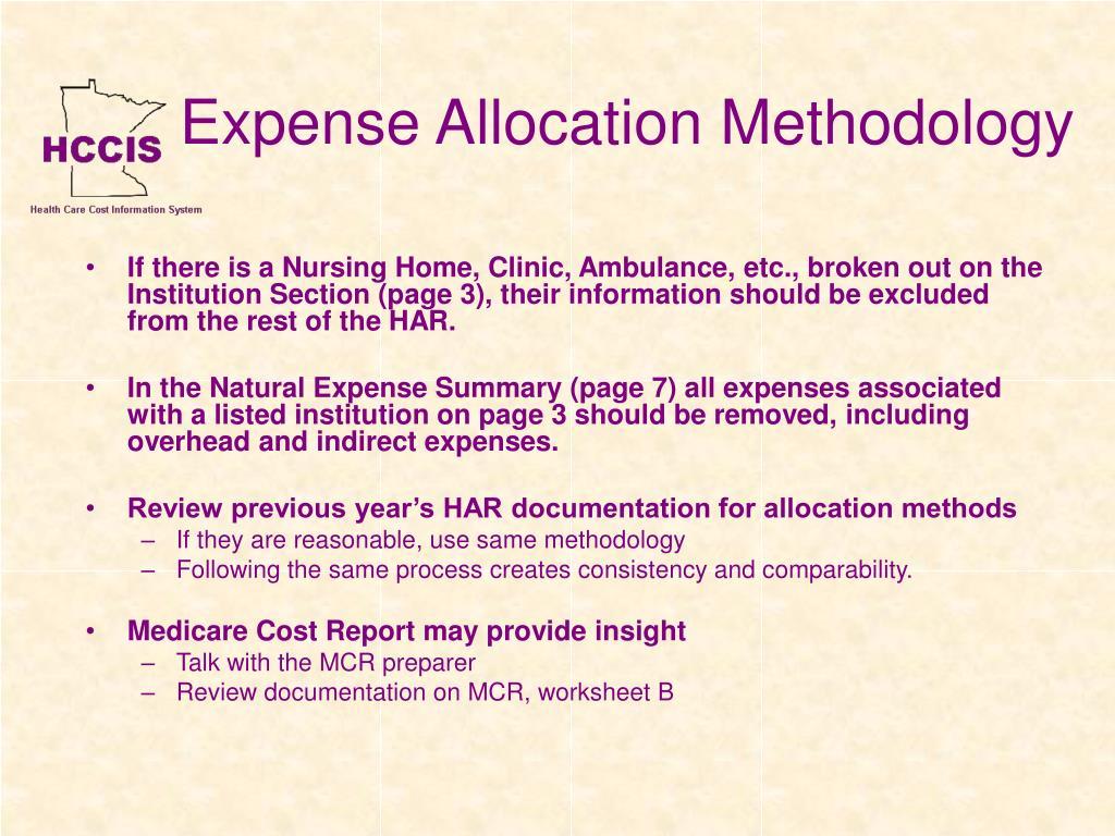 Expense Allocation Methodology