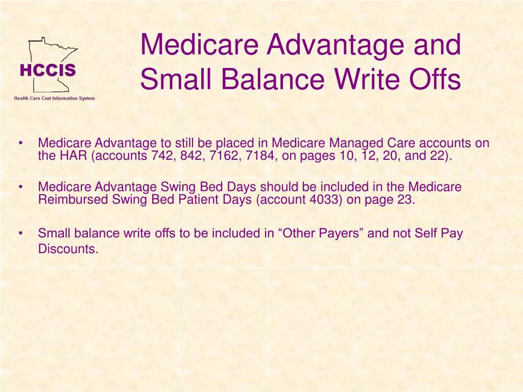 Medicare Advantage and Small Balance Write Offs