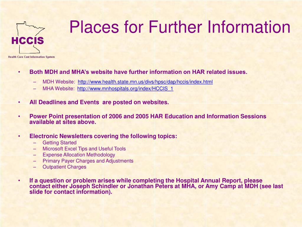 Places for Further Information