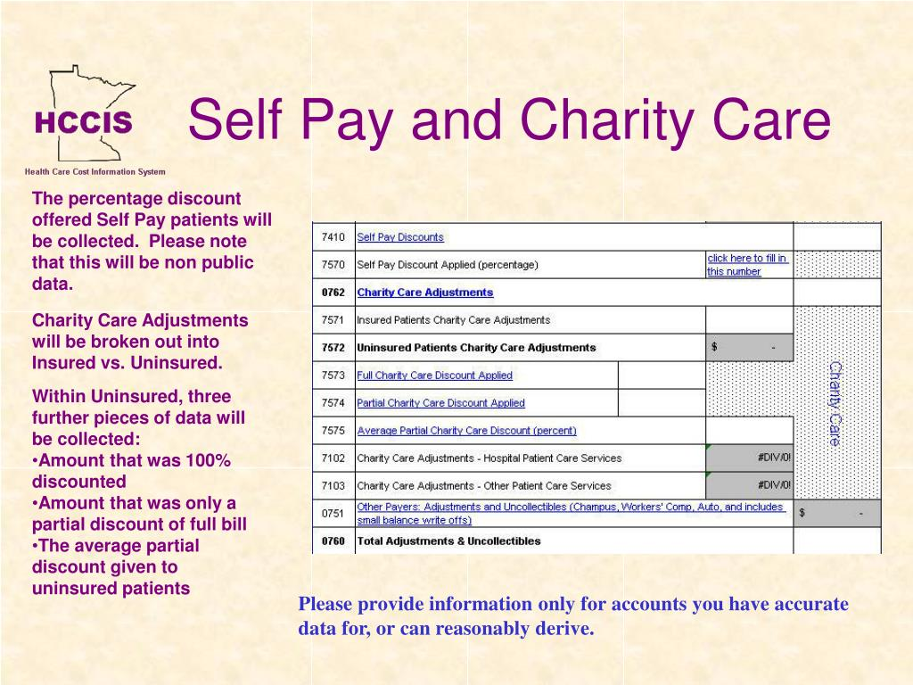 Self Pay and Charity Care