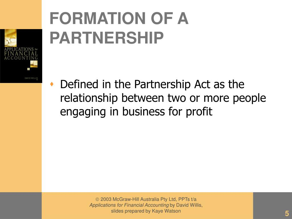 FORMATION OF A PARTNERSHIP