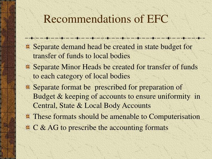 Recommendations of EFC