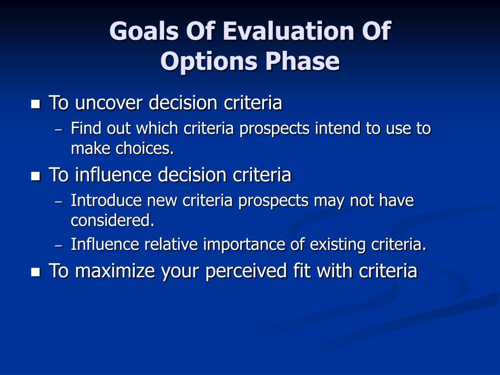 Goals Of Evaluation Of