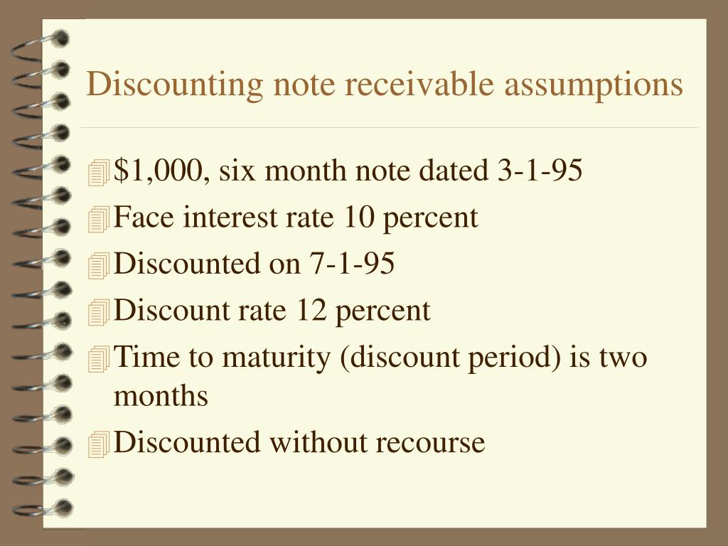Discounting note receivable assumptions