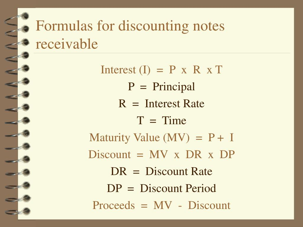 Formulas for discounting notes receivable