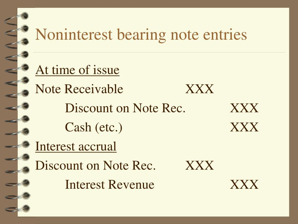 Noninterest bearing note entries
