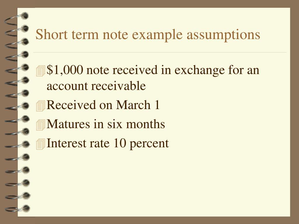 Short term note example assumptions
