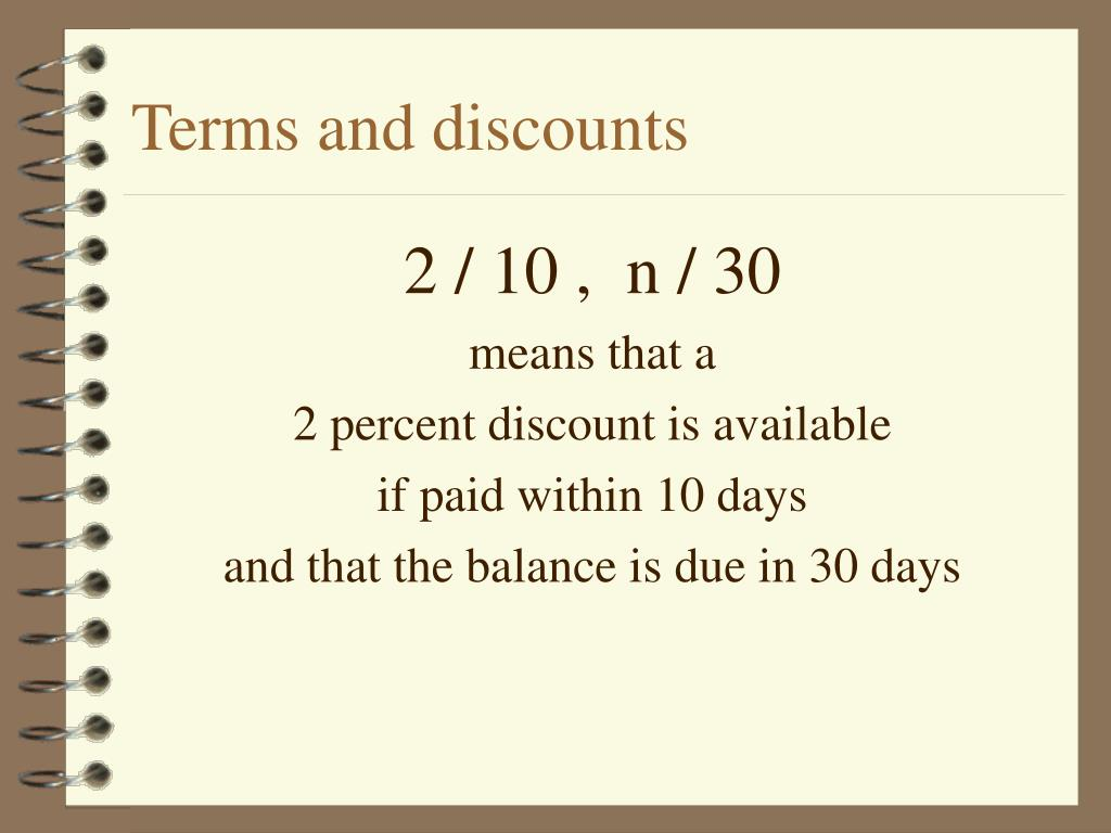 Terms and discounts