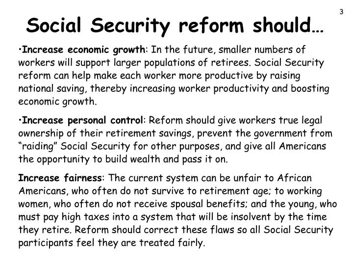 Social security reform should