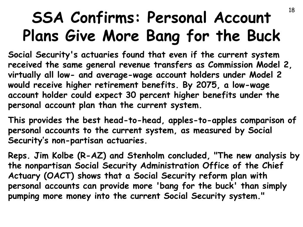 SSA Confirms: Personal Account Plans Give More Bang for the Buck