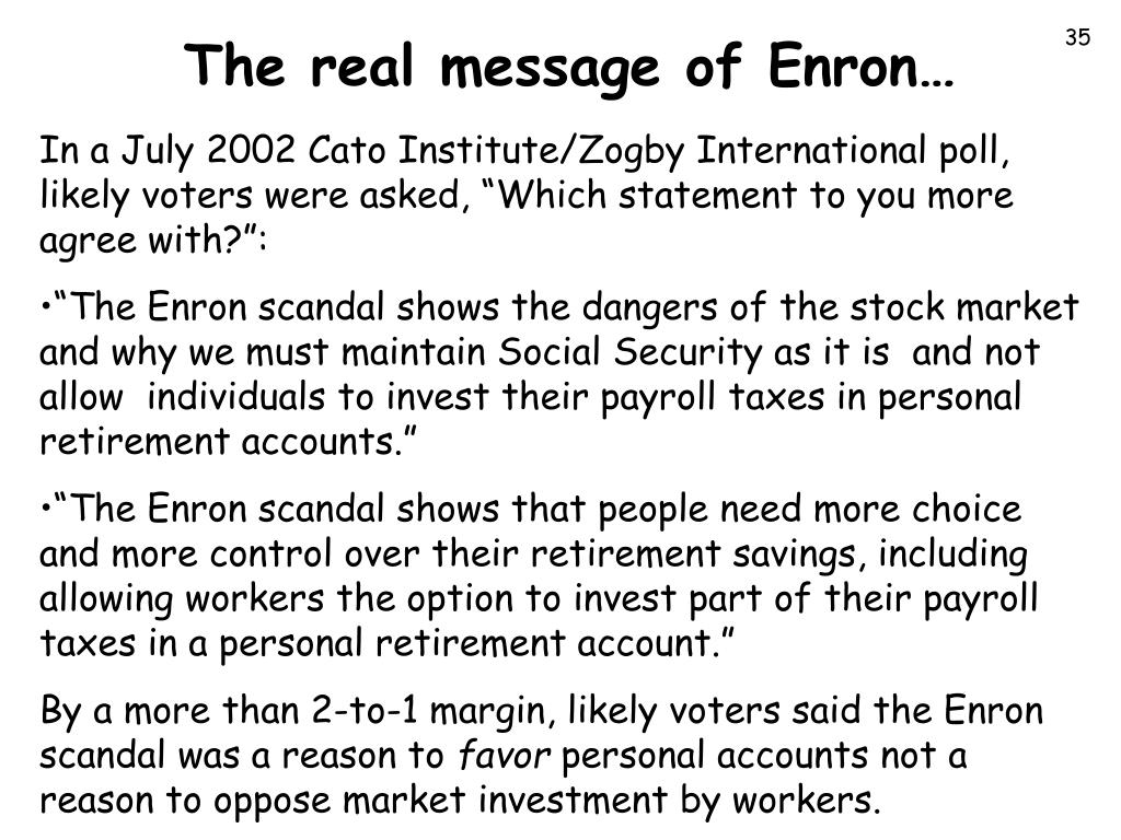 The real message of Enron…