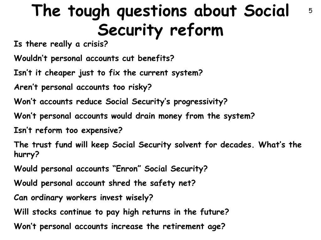 The tough questions about Social Security reform