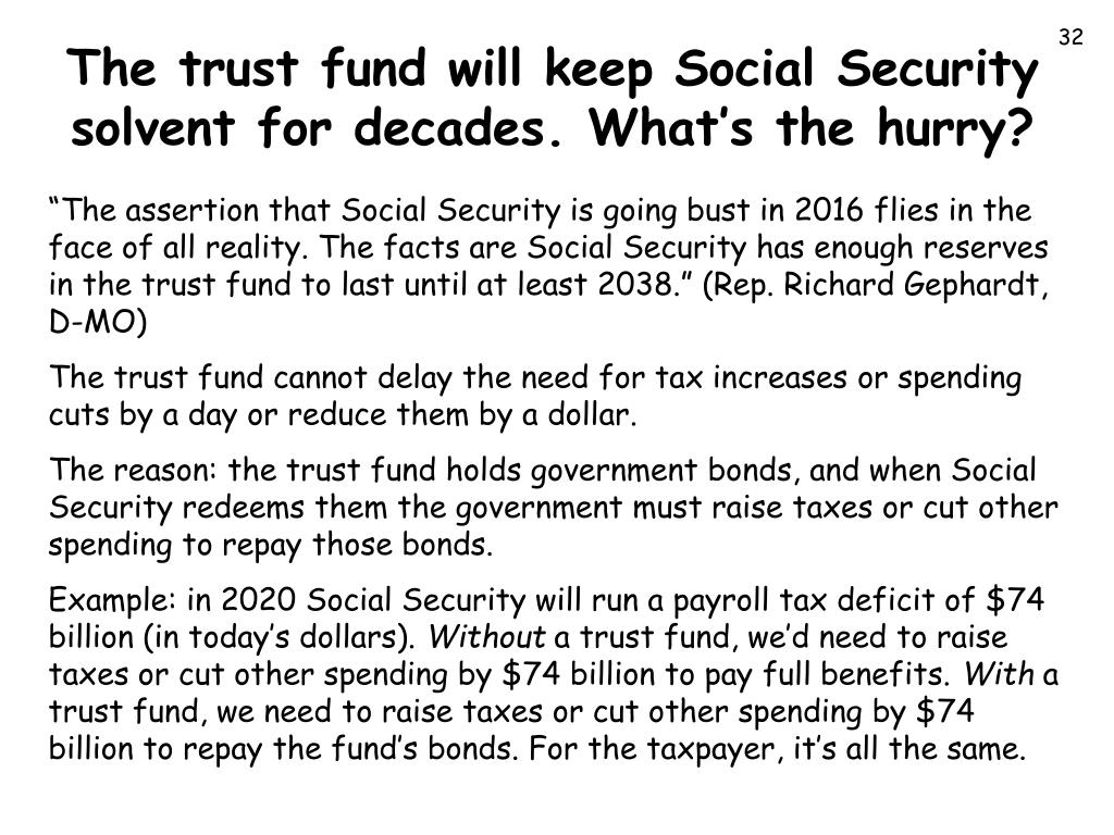 The trust fund will keep Social Security solvent for decades. What's the hurry?