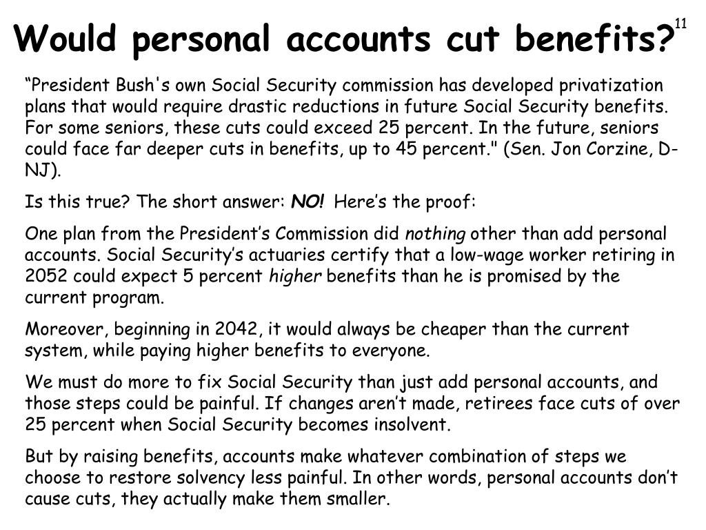 Would personal accounts cut benefits?