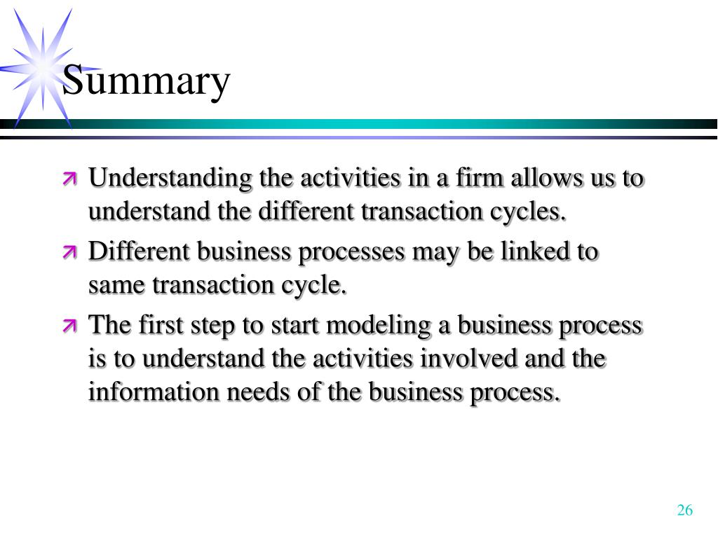 Understanding the activities in a firm allows us to understand the different transaction cycles.