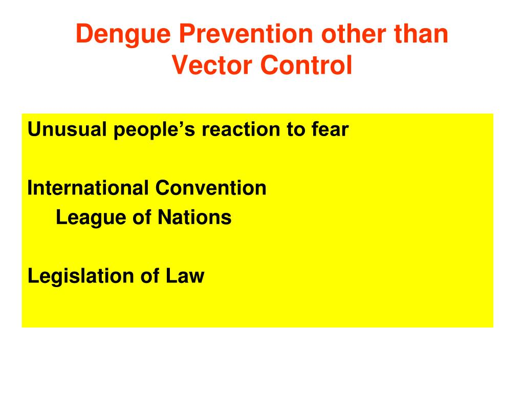 Dengue Prevention other than Vector Control