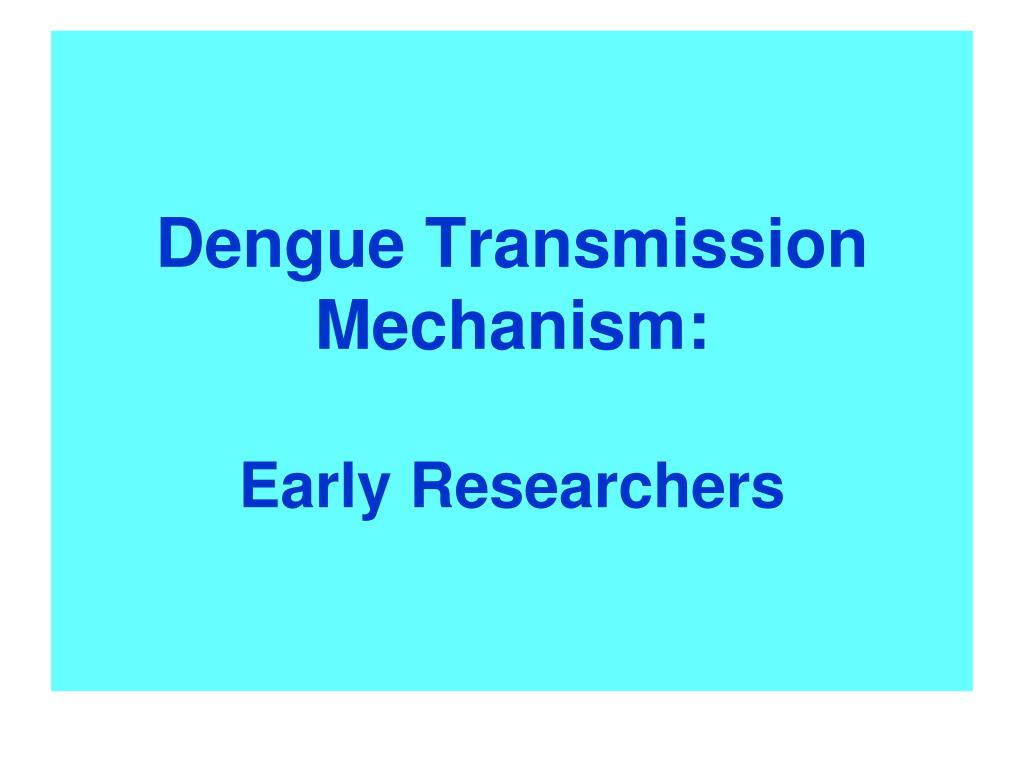 Dengue Transmission Mechanism: