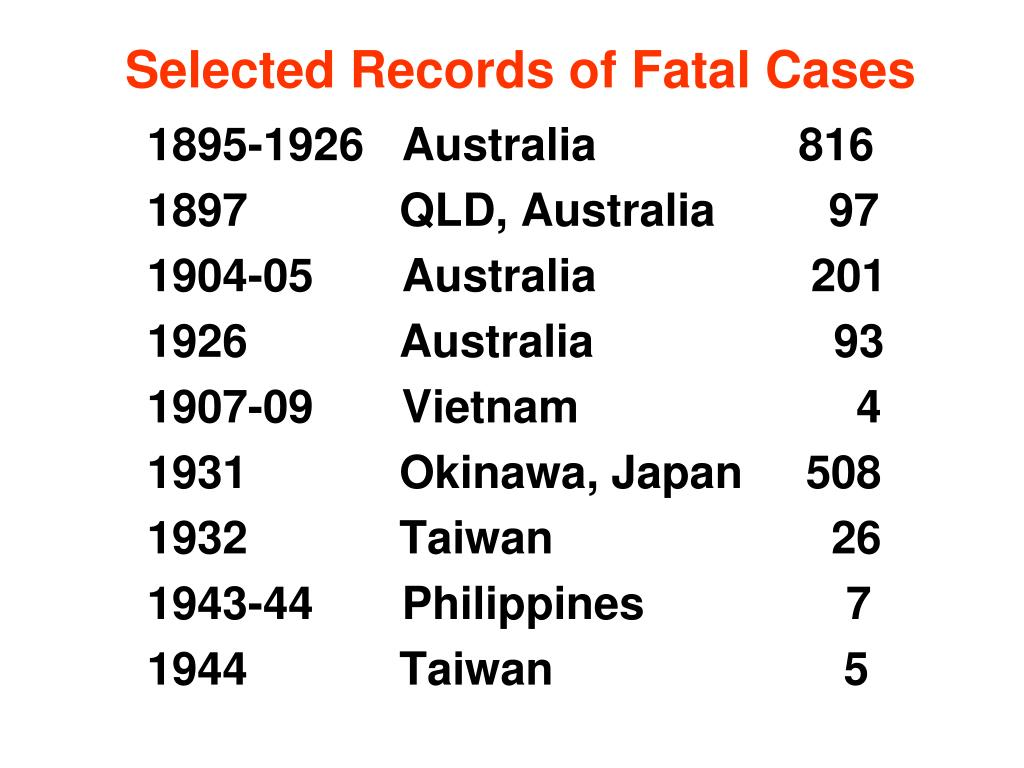 Selected Records of Fatal Cases