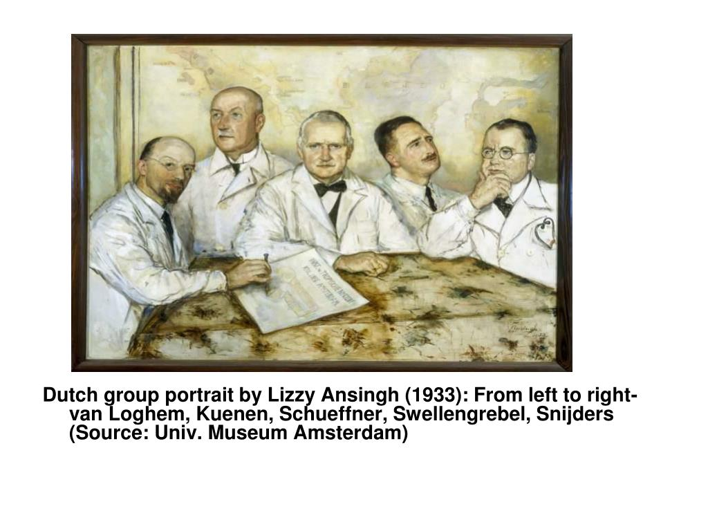 Dutch group portrait by Lizzy Ansingh (1933): From left to right-van Loghem, Kuenen, Schueffner, Swellengrebel, Snijders (Source: Univ. Museum Amsterdam)